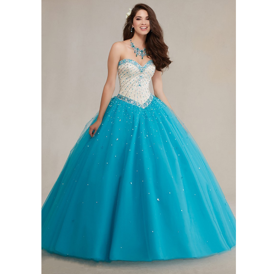 Gorgeous Masquerade Ball Gowns Puffy Fully Beading Crystals Corset ...