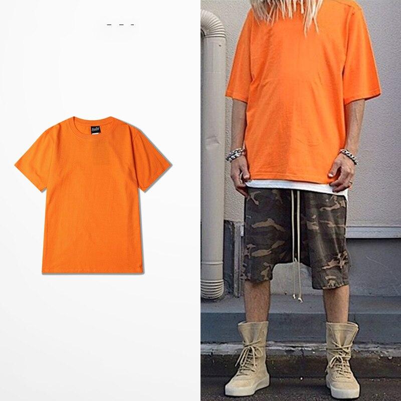 2019 Harajuku Retro Tide Brand T-shirts Men 100% Cotton Quality Vintage T-shirt Fashion Men T Shirt Orange Pink Shirt Men Kpop