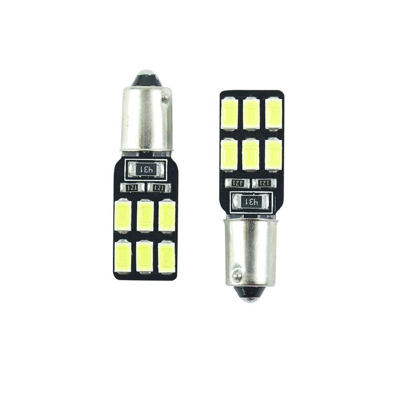 2 adet LED Ba9s T11 T4W H6W 233 süper parlak İç ampuller okuma lambası araba ışık çorap 12 SMD 5630 beyaz DC 12 v