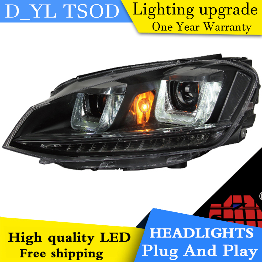 Car Styling For VW Golf mk7 headlights 2014 2016 Golf7 led headlight Head Lamp led drl