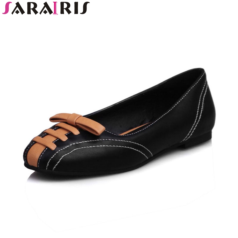 SARAIRIS 2018 Spring Autumn Sweet Bow Ballet Flats Women Sewing Shallow Shoes Woman Big Size 34-43 Mixed Color Casual Shoes sarairis 2018 spring autumn hot sale