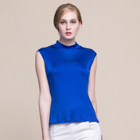 Summer Women 100% Real Silk Tank Tops Casual Knitted Half High Collar Shirts Comfortable Breathable Loose T shirts 1155