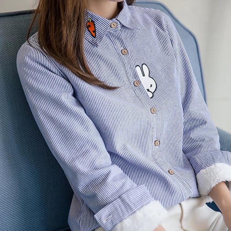 Cielo Blusa Otoño 2017 Bordado Interior Caliente Lindo rosado Plaid Conejo Señora De Fleece Estilo Azul Casual Camisas Top Moda Mujeres Nuevo xI0qxwO