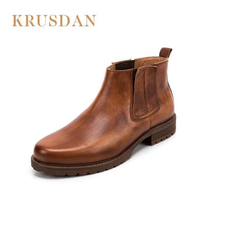 2018 الخريف الرجال جلد طبيعي أحذية العمل أحذية خمر أكسفورد أحذية الكاحل عالية الجودة تشيلسي الرجال على  مجموعة 1