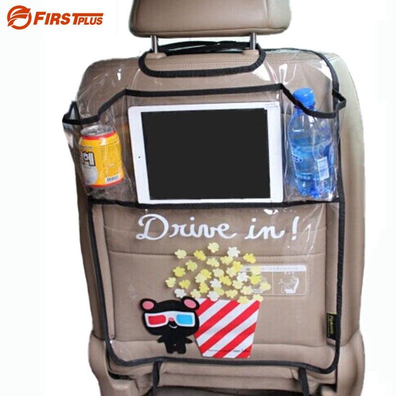 Verdicken Umwelt PVC Abdeckung Auto Zurück Seat Protector Treten Matte Für Kinder Kind Sitze-Mit Organizer Für Ipad und trinken