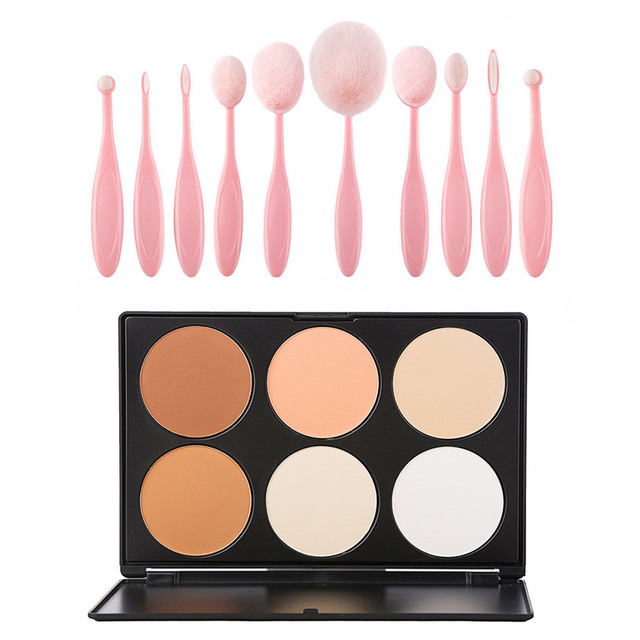 6 Colors Face Cream Concealer Eyeshadow Palette + 10pcs Oval Toothbrush Shape Powder Blusher Makeup Brushes Cosmetic Set Kits