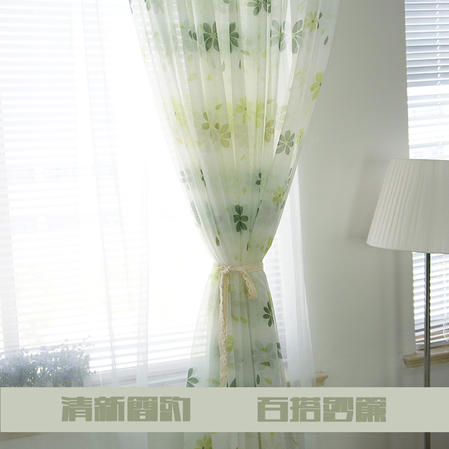 Amazing 100% Polyester Voile Curtains Flower Sheer Curtains Ready Made Simple Curtain  Patterns Green Tulle Curtains