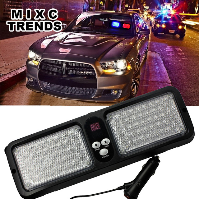 Car Sun visor flashing light Red Blue 86 LED Strobe Flash Lamp Car truck  Warning Light Windshield Beacons Flashing Police lights 529a35df1b8