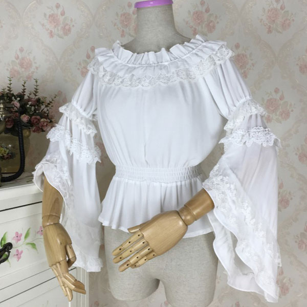 Sweet Womens Long Flare Sleeve Chiffon Blouse Vintage Off the Shoulder Top ...