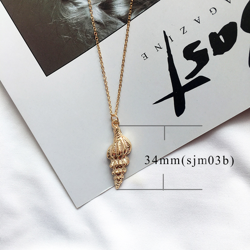 19 New Fashion Gold Color Alloy Cowrie Shell Necklace for Women Conch Chain Pendant Necklace Summer Jewelry Starfish Collar 10