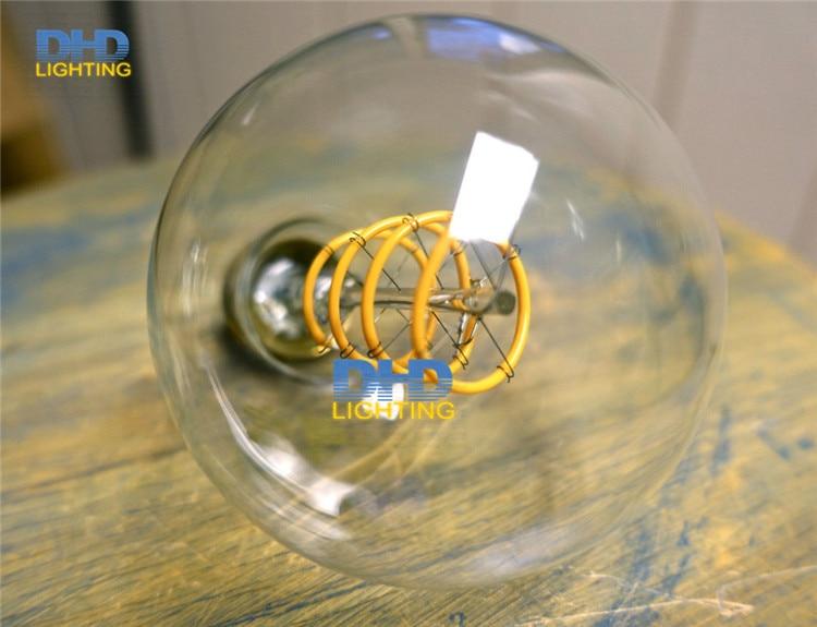 Gratis verzending Globle G125 amber glas LED spiraal filament edison lamp 220 V 4 W vintage verlichting lamp dimbare thuis decoratie