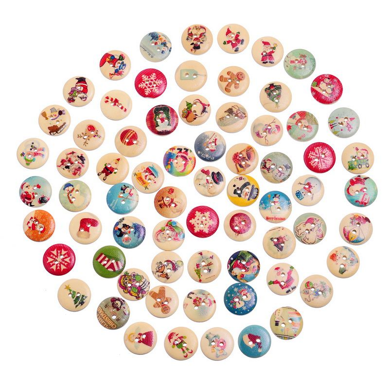 Urijk 30/50/100/200PCs Wooden Buttons For Needlework Christmas Pattern Buttons DIY Scrapbooking Ornaments Sewing Accessories button