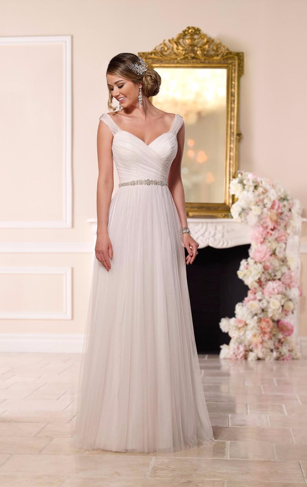Vestidos de novia Rustikale Hochzeitskleid Elegante Falte V ...