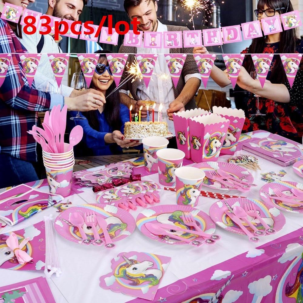83PCS Єдиноріг теми дня народження - Святкові та вечірні предмети