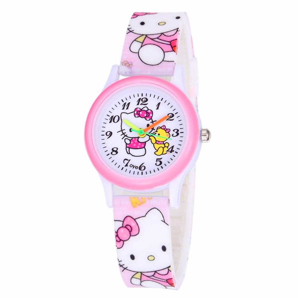 Kids Watches Girls Pink Cartoon Children Watches Baby Girl Dress Clock Cute Kitten Quartz Watches Montre Enfant Relogio Infantil