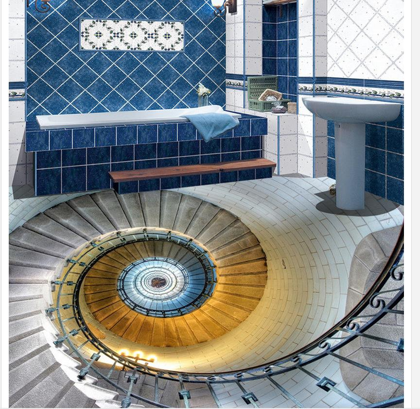 Home decoration 3d spiral staircase hall floor 3d bathroom for Square spiral staircase plans hall