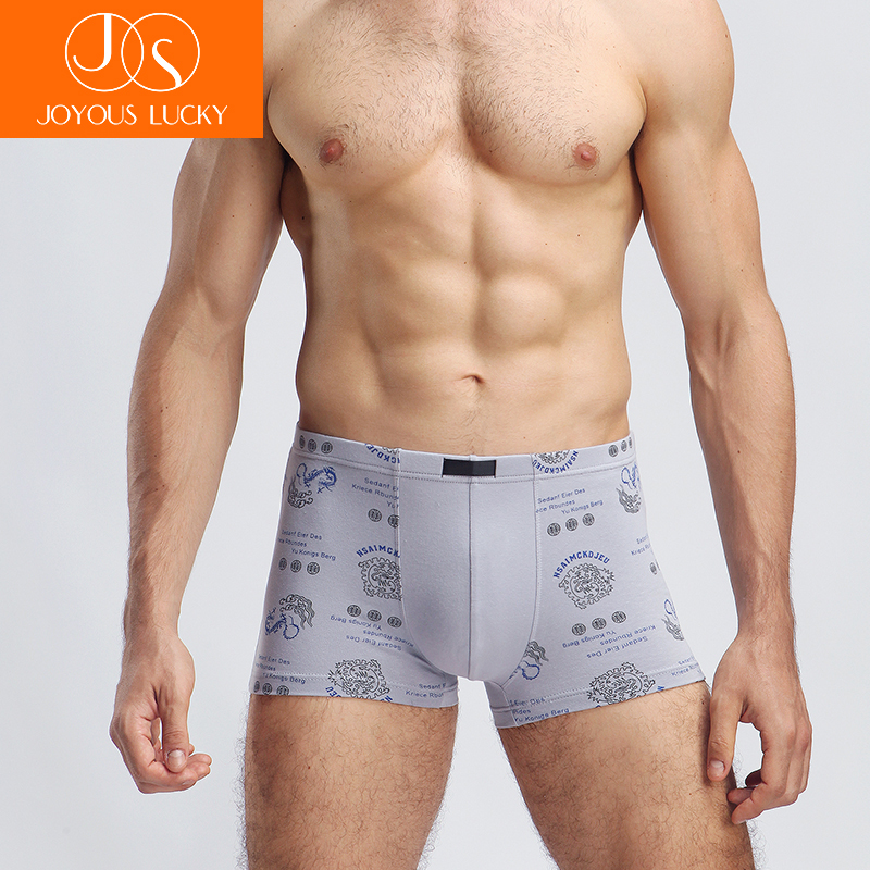 JOYEUSE CHANCEUX Totem Hommes de Sous-Vêtements Masculins Coton Pantalon Sexy U Convexe Coins Ceintures Calzoncillos Hombre Boxer Marca Lager Taille