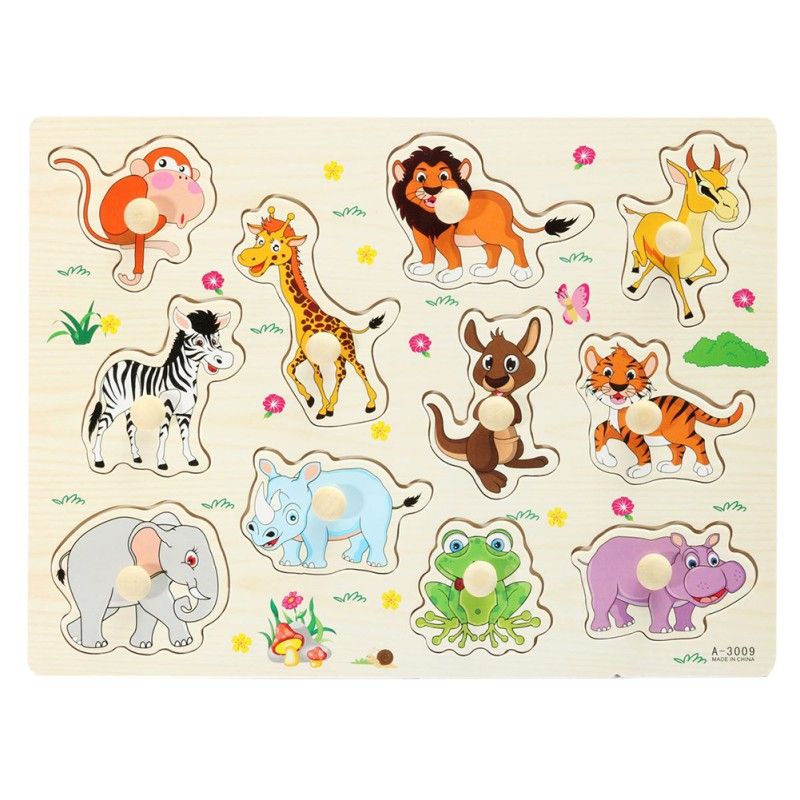 New Style Fashion Zoo Animals Wooden Puzzle Baby Kids Learning Educational Puzzle Toys PL3 pilsan puzzle 4x4 animals