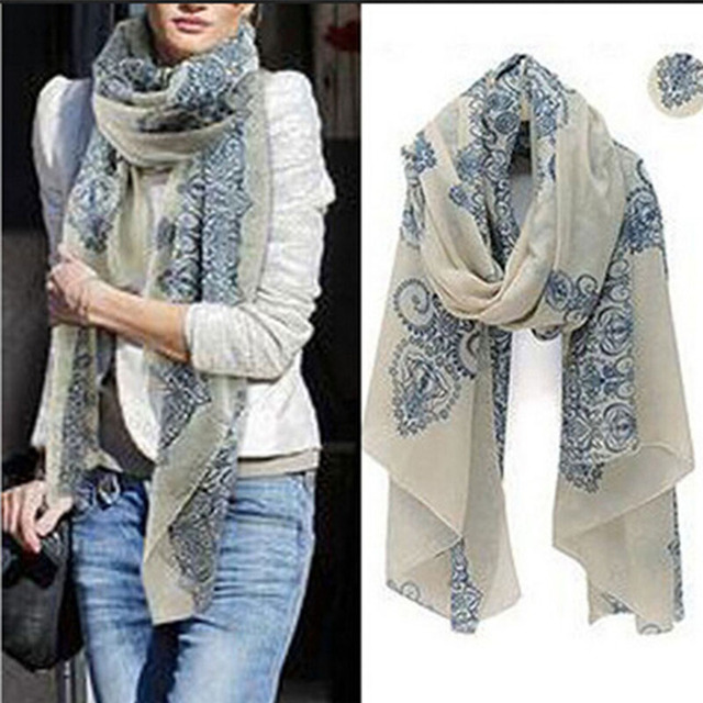180*110CM Free Shipping ! Temperament Excellent, Blue and White Porcelain Style Thin Section the Silk Floss Women Scarf Shawl.