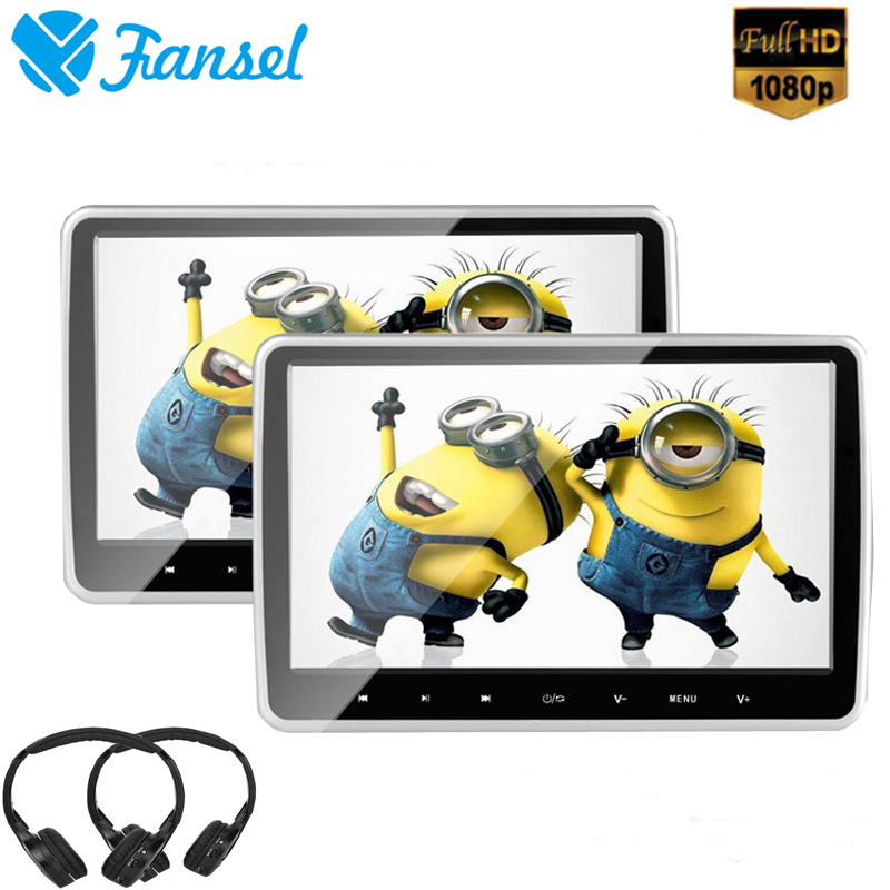 Fansel 2PCS 10.6 Inch Touch Button Car Headrest Monitor DVD Player HD 1080P Video/USB/SD/IR/FM Transmitter/HDMI/Speaker/Game