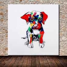 Hand-painted Modern Wall Art Picture Living Room Home Decor Abstract Colorful Dog Cartoon Animal Oil Painting On Canvas No Frame
