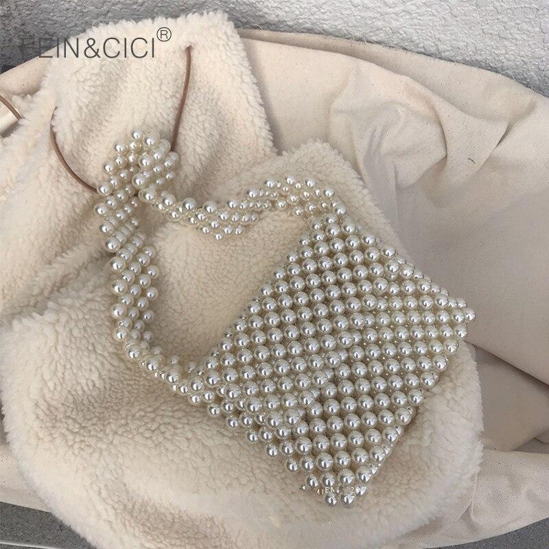 Pearls bag beaded shoulder bag women vintage retro ladies plastic acrylic bag 2019 new ins summer