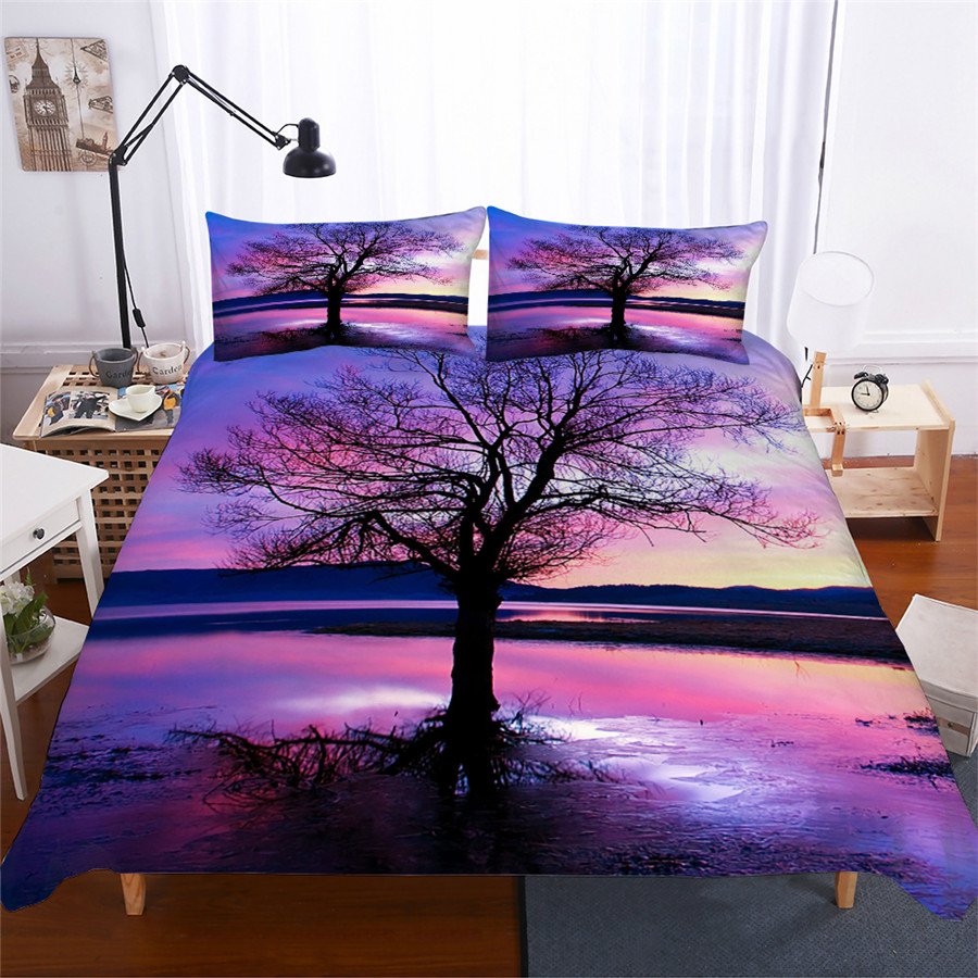 Bedding Set 3D Printed Duvet Cover Bed Set Landscape Tree Home Textiles For Adults Lifelike Bedclothes With Pillowcase #FG03