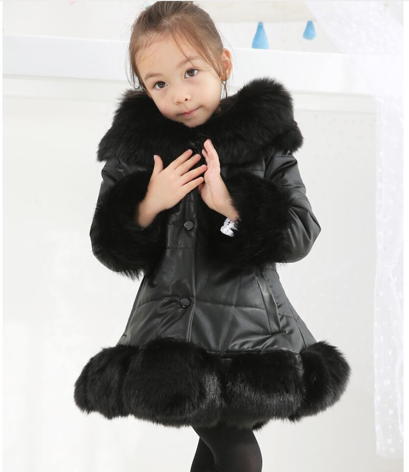 2018 Girls Winter Faux Fur parkas High quality pu Girls Coats Kids Warm Jacket Children Xmas Outerwear infantil Jacket casaco 2018 girls winter faux fur fleece girls coats kids warm jacket children snowsuit outerwear dress style jacket free shipping