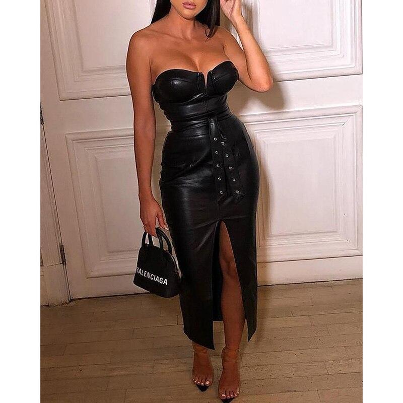 Backless pu leather dress Women high split black tight party dress Sexy night club wear low cut bodycon dresses belted vestidos