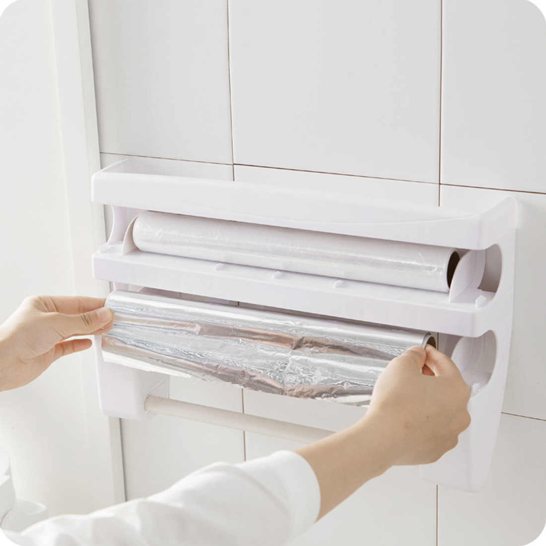Pellicola trasparente Taglierina di Plastica Alimentare Wrap Dispenser Multifunzione Contenitori e complementi per Cucina cremagliera Porta Rotolo Foglio Di tovagliolo Di carta in Rotolo Di carta Mensola-bianco