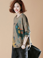 2018 Spring and Autumn Large Size Arts Head Bottoming Sweater Loose Knitting