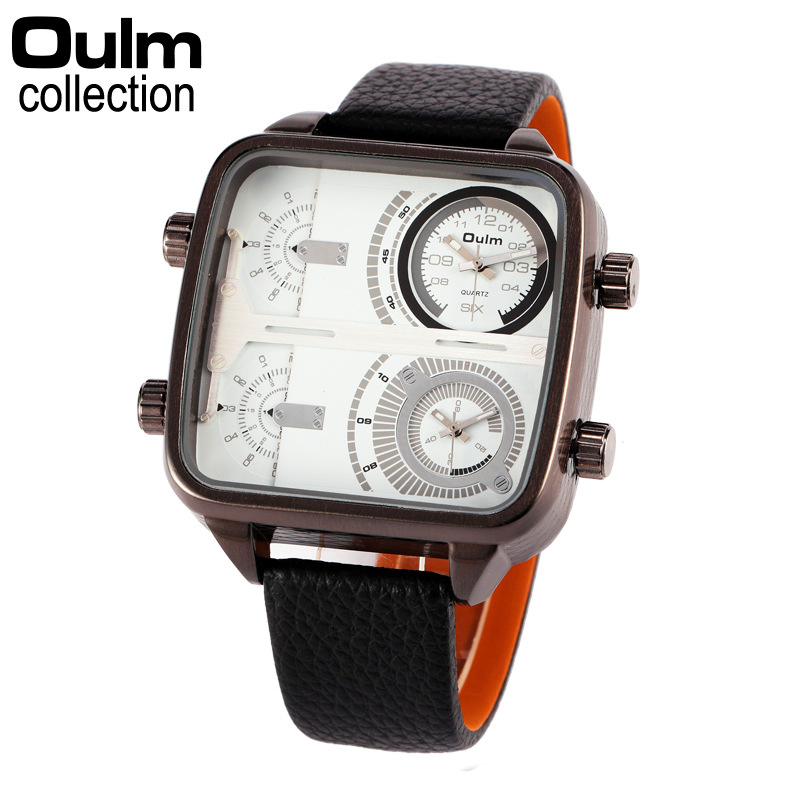 Oulm Brand Mens Luxury Square Leather Strap Big Dial Sports Quartz Watch Dual Time Zone Fashion Army Wristwatches With Gift Box oulm brand mens leather band japan movt quartz watch dual time zone fashion hit color wristwatches with gift box relogio releges