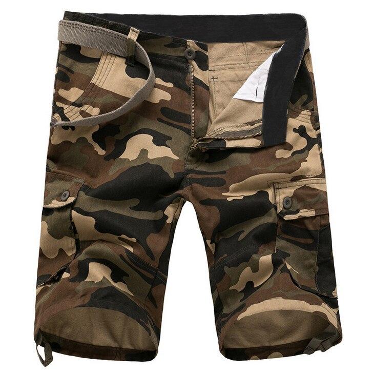 ZOEQO Новые мужские повседневные камуфляжные свободные мужские шорты Карго большой размер мульти-карман военные короткие брючные комбинезоны бермуды masculina - Цвет: khaKi