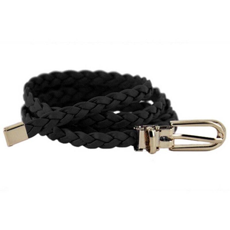 Fashion Women Weaved Braid PU Leather Skinny Narrow Waistband Waist Belt