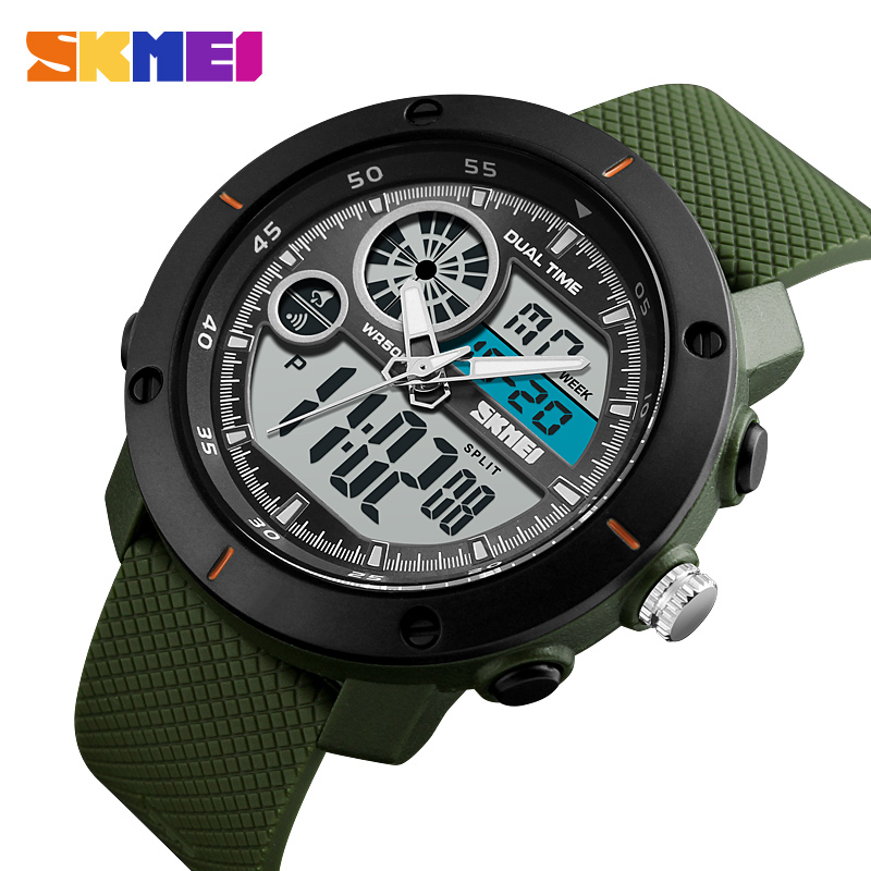Fashion Men Sports Watches 2018 <font><b>SKMEI</b></font> Brand Luxury Dual Display Wristwatches Digital Quartz Watch Waterproof Military Army Watch image