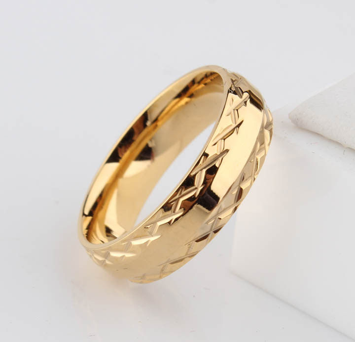 gold color lace wedding rings for men women 6mm pattern stainless steel couple Promotion  jewelry wholesale
