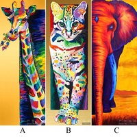 5D Diy Diamond Painting Cross Stitch Animal Diamond Embroidery Giraffe Elephant Cat Full Diamond Mosaic Pictures