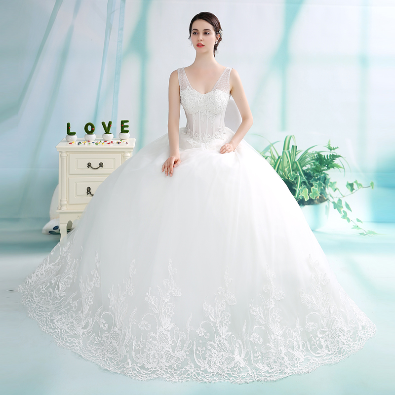 e586f2542107 Luxurious Bling V Neck Wedding dresses Corset Bodice Sheer Bridal Ball  Crystal Pearl Beads Rhinestones Tulle Wedding Gowns