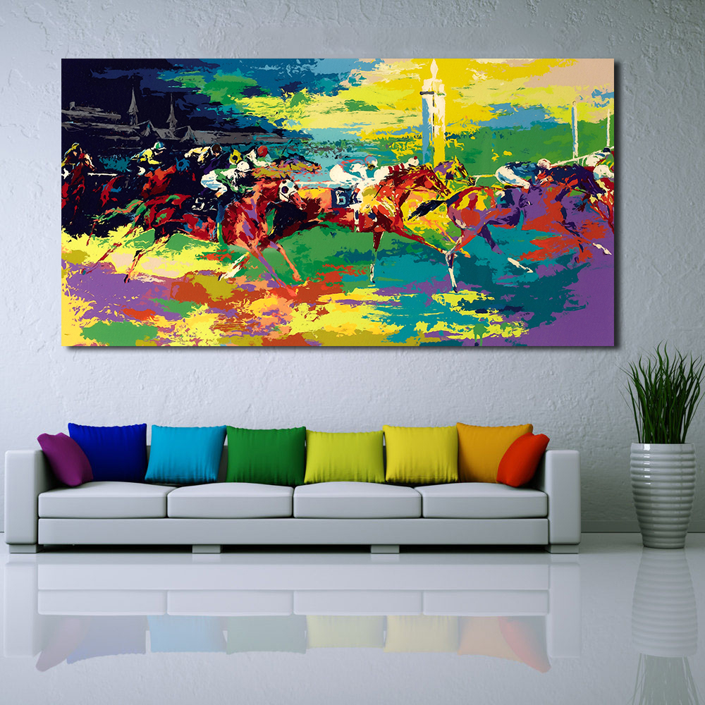 WANG ART Kentucky Derby Oil Painting Wall Art Canvas Decorative Living Room Picture No Frame In Calligraphy From Home