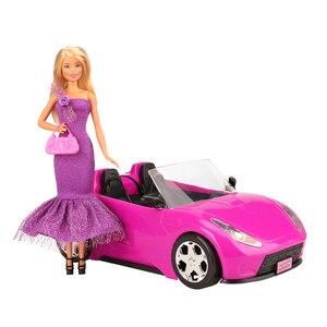 Image 3 - 26 предметов/набор ручной работы, аксессуары для кукол = 1 игрушечный автомобиль + 5 кукол, одежда + детские игрушки для девочек, 10 случайных обуви, предметов для игры Барби