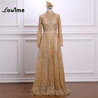 Gold Shiny Fabric Formal Evening Dresses 2018 High Neck Long Sleeves Arabic Abendkleider Dress Party Dress For Muslim Women