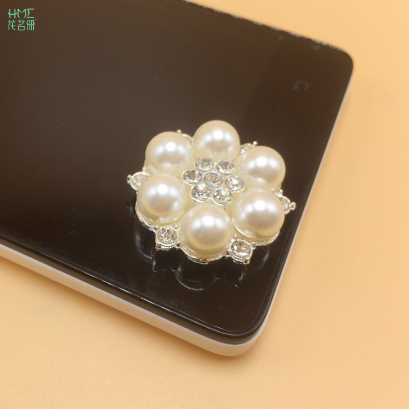 5pcs bag 2.3x2.3cm Craft Pearl Crystal Rhinestone Buttons Flower Round  Cluster Flatback Wedding Embellishment Jewelry Craft-in Buttons from Home    Garden on ... fbb71e43563e