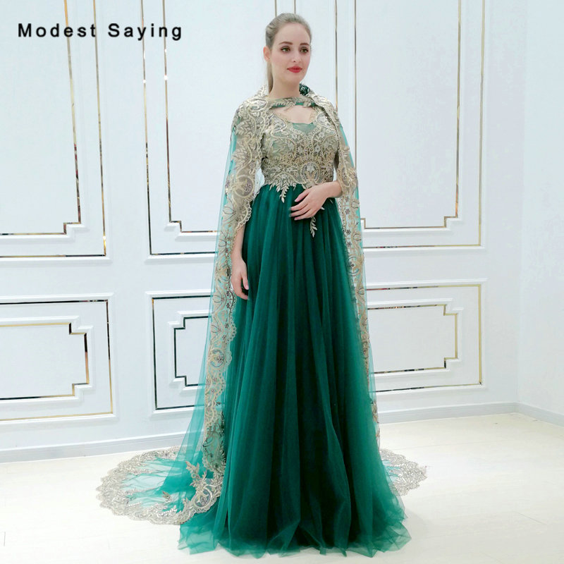 Elegant Eemerald Green A Line Beaded Lace Evening Dress 2018 with Long  Shawl Engagement Party Prom 6e665b606939