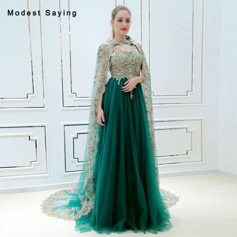 Élégant eemeraude vert une ligne perlée dentelle robe de soirée 2018 avec Long châle fiançailles fête robes de bal robe de festa longo