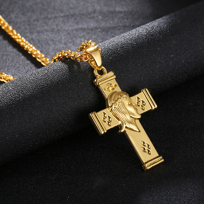 New Cross Jesus Pendant Necklace INRI Crucifix Gold/Steel/Gun black Color Men Chain Catholic Jewelry Holiday Gifts