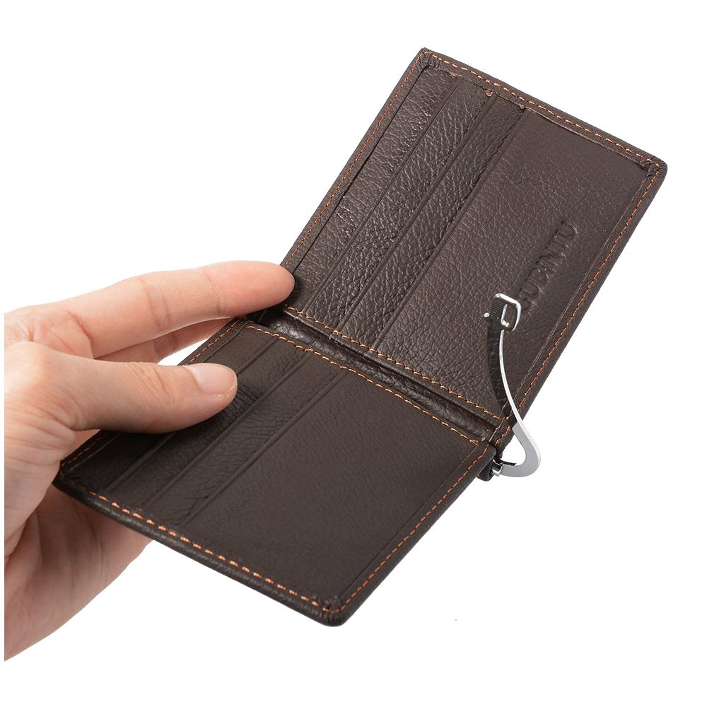 GUBINTU Men's Wallet Imitation Leather Slim Billfold Brown With 6 Credit Card Slots + Note Clip + Coin Pocket