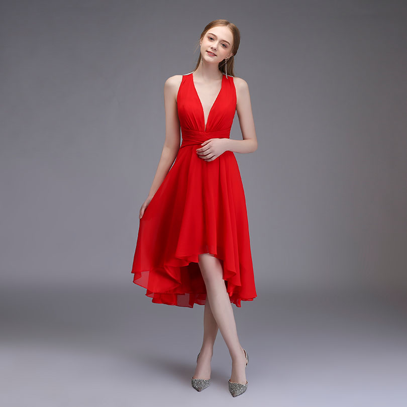 2018 Red High Low Prom Dresses Deep V-neck Chiffon Evening Gown ...