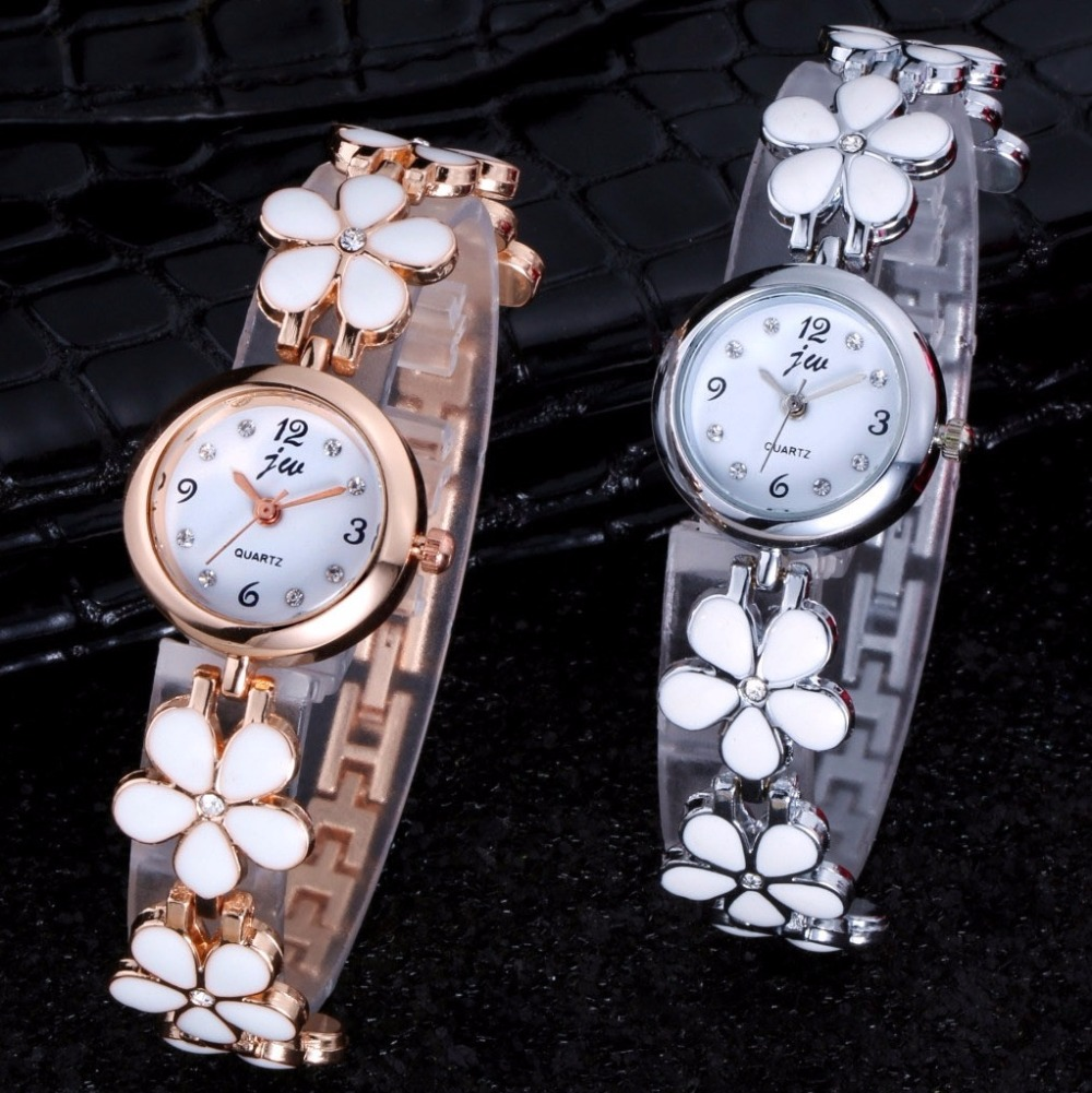 2019 New Fashion Flowers Watches Clock Women Luxury Brand JW Crystal Stainless Steel Wristwatches Ladies Dress Quartz Watch XFCS