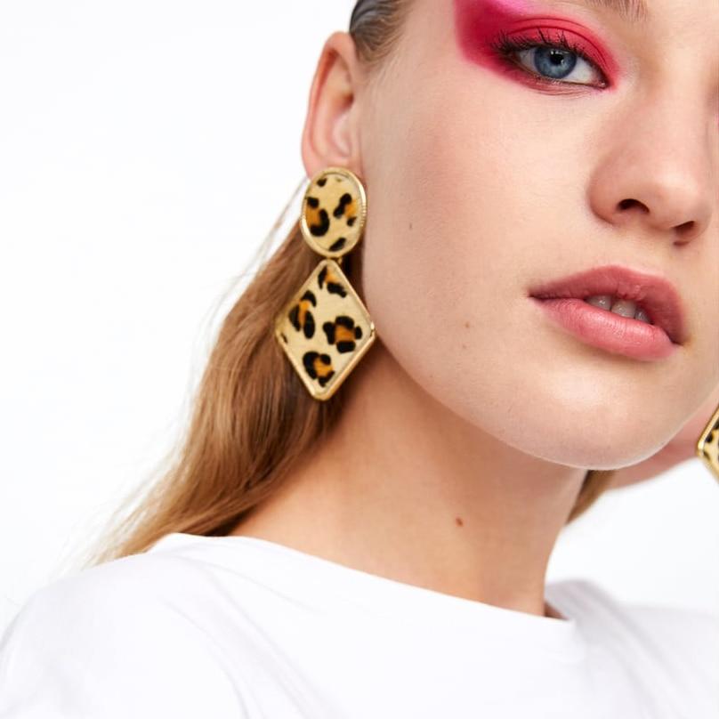 JUJIA Top Brand Ethnic Animal Spots Dangle Earrings For Women Vintage Leopard Print Statement Drop Earrings