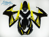 Custom Injection Fairing kits for Suzuki GSXR 600 06 07 K6 GSXR600 750 racing fairings kit GSXR750 2006 2007 yellow black parts